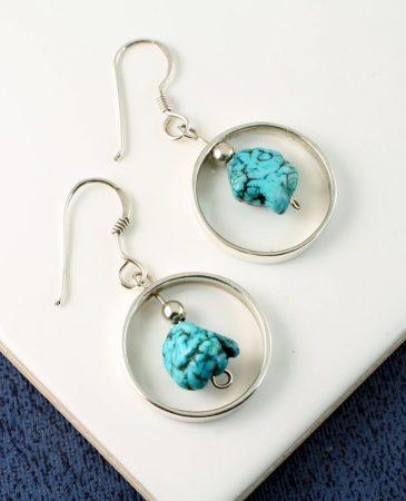 Turquoise Nugget Earrings E-0123-a