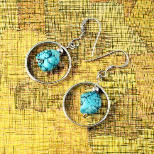 Turquoise Nugget Earrings E-0123-b