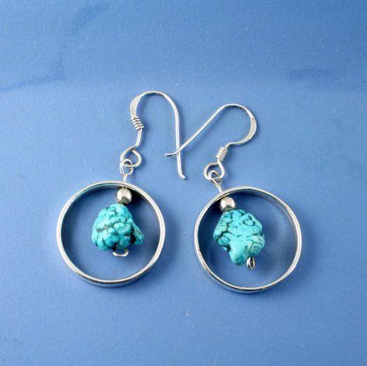 Turquoise Nugget Earrings E-0123-c