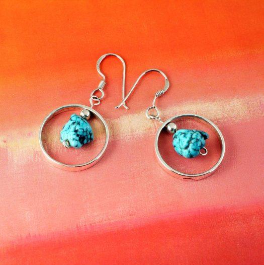 Turquoise Nugget Earrings E-0123-d