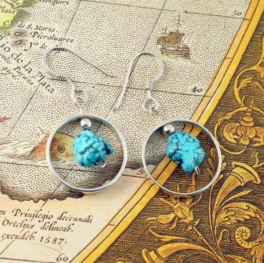 Turquoise Nugget Earrings E-0123-f