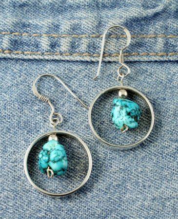 Turquoise Nugget Earrings E-0123-g