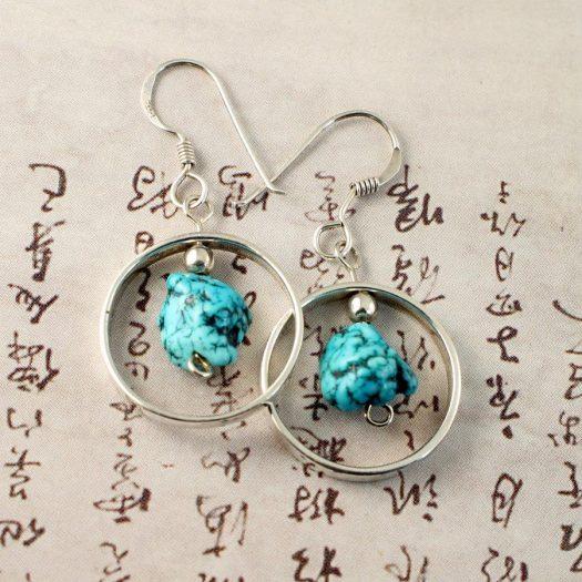 Turquoise Nugget Earrings E-0123-h