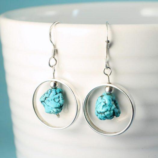 Turquoise Nugget Earrings E-0123-i