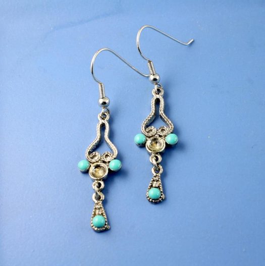 Turquoise Silver Chandeliers E-0131-a