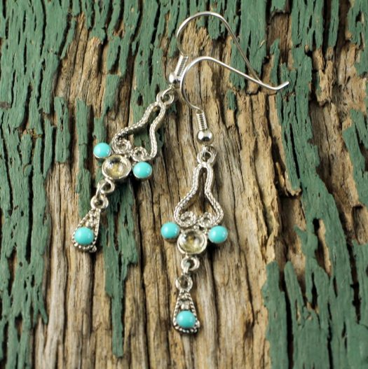 Turquoise Silver Chandeliers E-0131-b