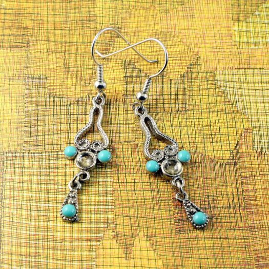 Turquoise Silver Chandeliers E-0131-c