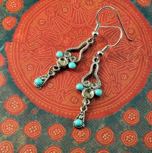Turquoise Silver Chandeliers E-0131-d
