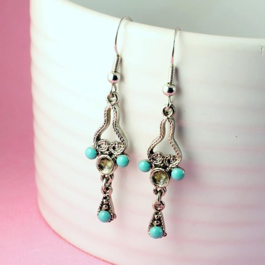 Turquoise Silver Chandeliers E-0131-f