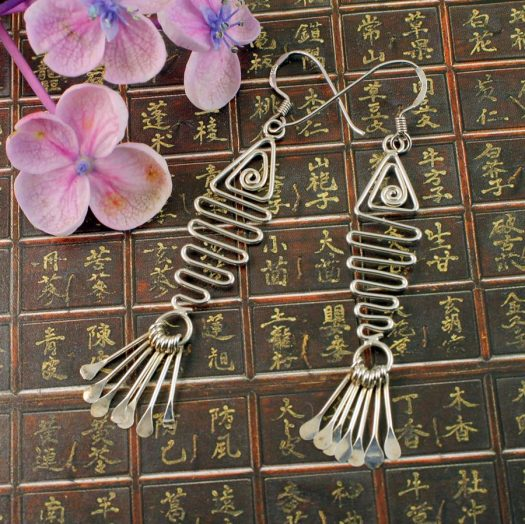 Wirework Fish Earrings E-0201-b