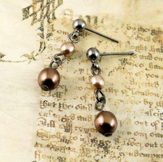 Bronze Gold Pearls E-0213-a