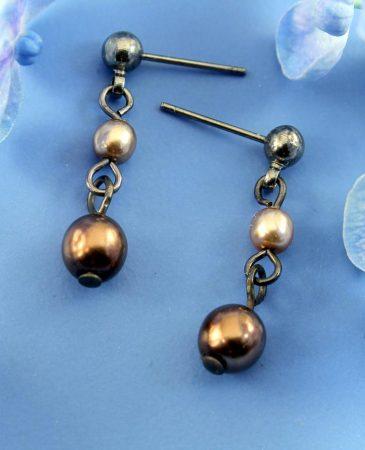 Bronze Gold Pearls E-0213-b