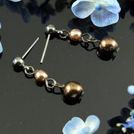 Bronze Gold Pearls E-0213-c