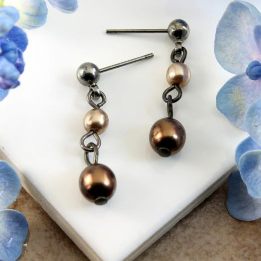 Bronze Gold Pearls E-0213-d