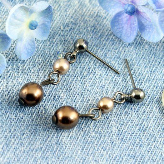 Bronze Gold Pearls E-0213-e