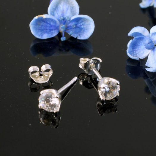Clear Quartz Crystal Studs E-0221 -a