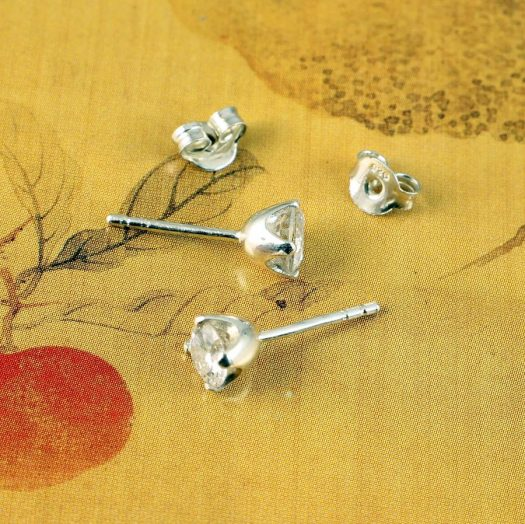 Clear Quartz Crystal Studs E-0221 -g