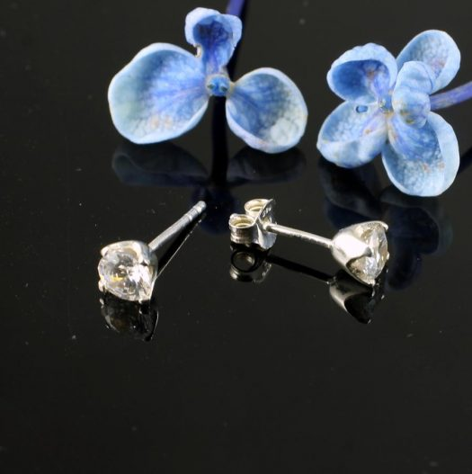 Clear Quartz Crystal Studs E-0221 -h