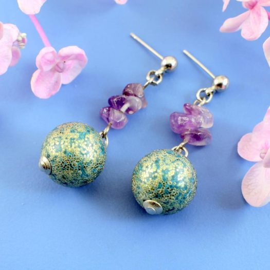 Marbled Teal Drops E-0207-a