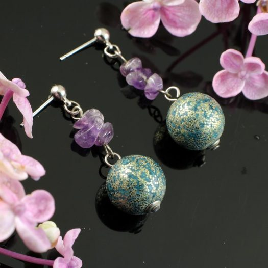 Marbled Teal Drops E-0207-b
