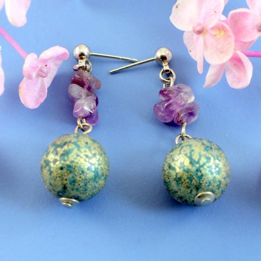 Marbled Teal Drops E-0207-e