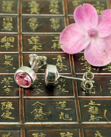 Rose Quartz Barrel Studs E-0224-b