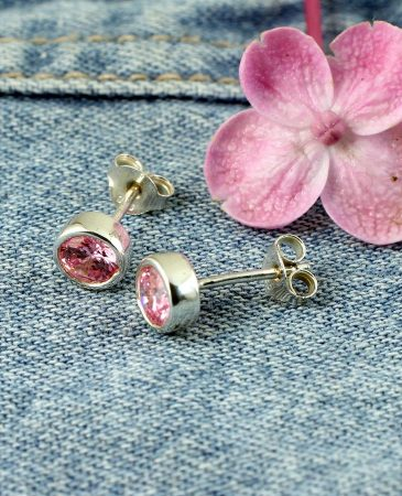 Rose Quartz Barrel Studs E-0224-c