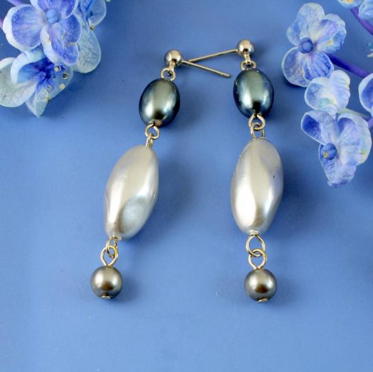 Teal & Silver Pearl Drops E-0206-a