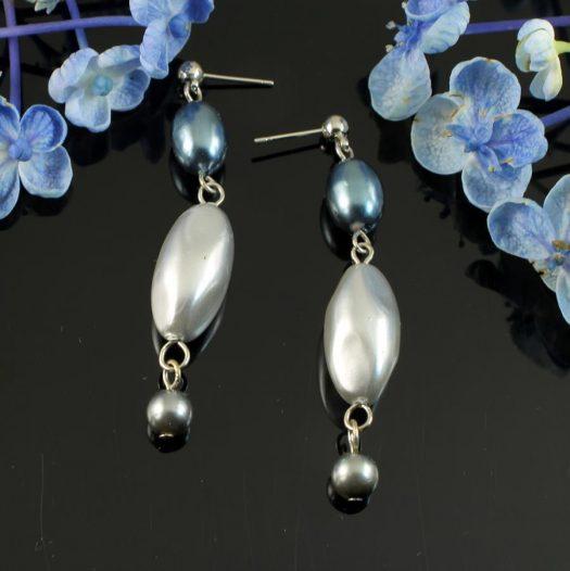 Teal & Silver Pearl Drops E-0206-b