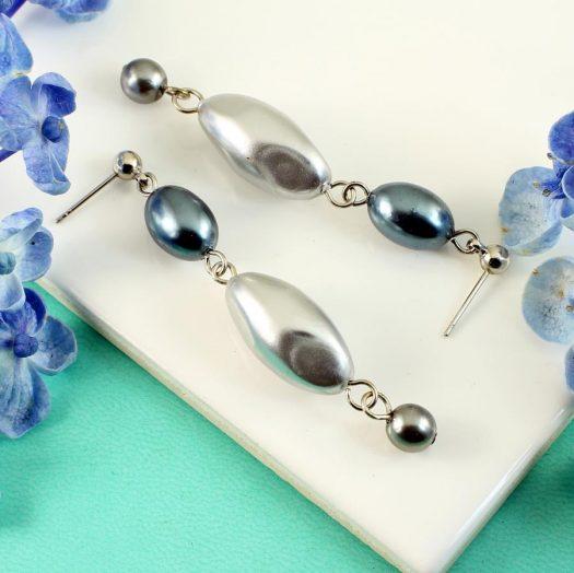 Teal & Silver Pearl Drops E-0206-c