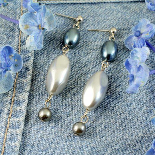 Teal & Silver Pearl Drops E-0206-d