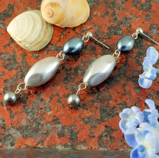 Teal & Silver Pearl Drops E-0206-e