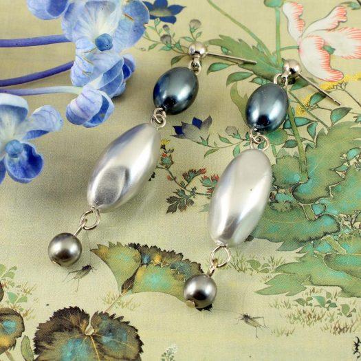 Teal & Silver Pearl Drops E-0206-f