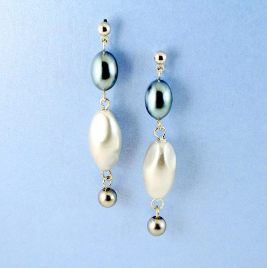 Teal & Silver Pearl Drops E-0206-g
