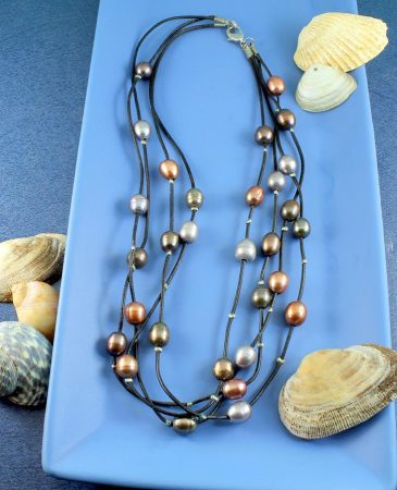 Floating Pearl Necklace N-0267-b