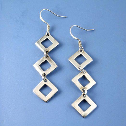 Silver Squares Earrings E-0237-a