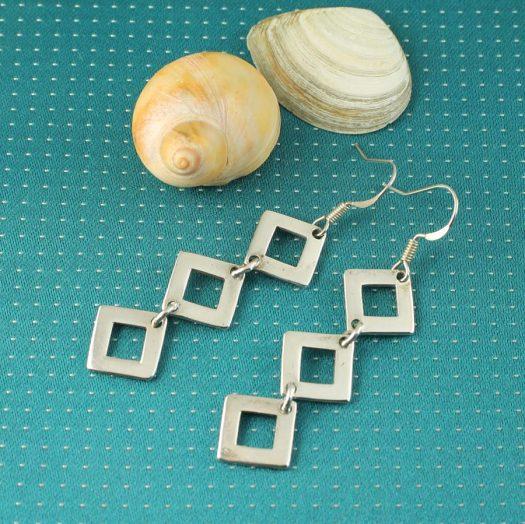 Silver Squares Earrings E-0237-b