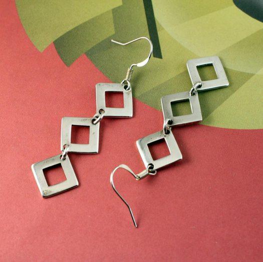 Silver Squares Earrings E-0237-c