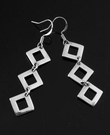 Silver Squares Earrings E-0237-d