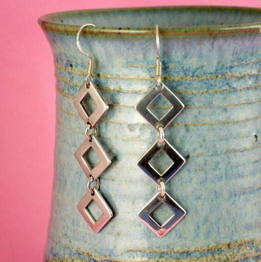 Silver Squares Earrings E-0237-e