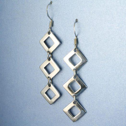 Silver Squares Earrings E-0237-f
