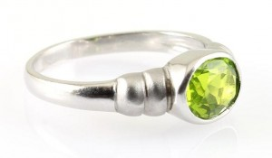 Peridot & Matt Silver Ring
