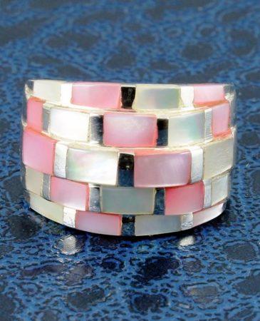 Pink Mosaic Ring R-0213-a