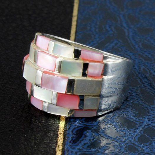 Pink Mosaic Ring R-0213-b