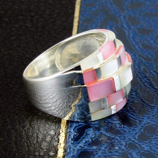 Pink Mosaic Ring R-0213-c