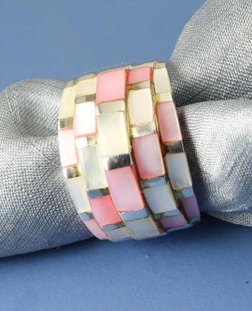 Pink Mosaic Ring R-0213-e