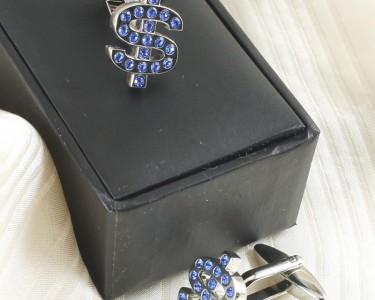 Blue Rhinestone Cufflinks G-0104-b (Copy)