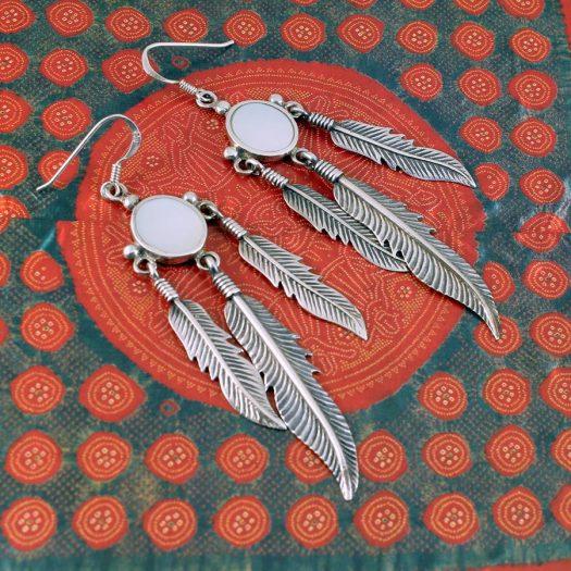 Moonstone Tribal Earrings E-0105-a