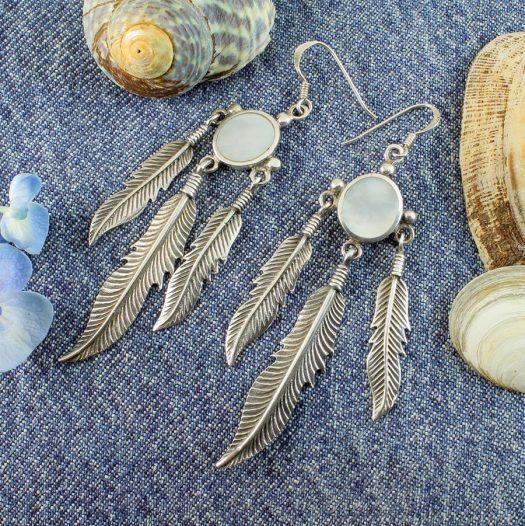 Moonstone Tribal Earrings E-0105-b