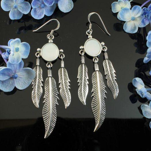 Moonstone Tribal Earrings E-0105-c